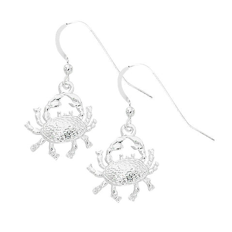 Layered Sterling Crab Dangle Earrings CRB603