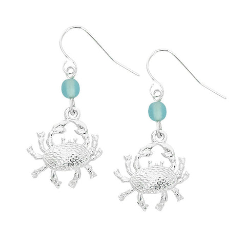 Layered Sterling Crab Dangle Earrings with Round Beads CRB605