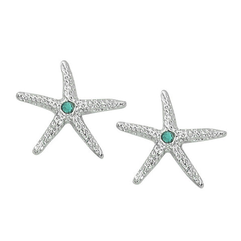 Layered Sterling Starfish Stud Earrings wiyh Aqua Swarovski Stone E111S