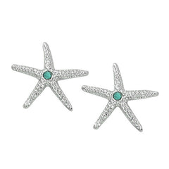 Layered Sterling Starfish Stud Earrings with Swarovski Crystals