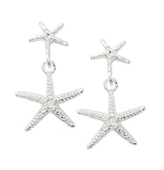Wholesale fashion double starfish drop pewter earrings in sterling silver or gold finish usa made