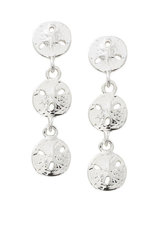 Triple Sand Dollar Dangle Earrings E126