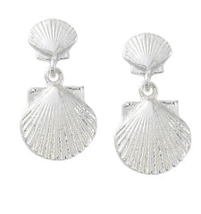 Wholesale fashion double shell drop earrings sterling silver or gold finish usa made