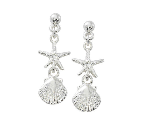 Ball Top Starfish with Scallop Shell Dangle Earrings E128