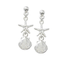 Scallop and Starfish drop earrings in pewter with silver or gold finish. USA made Wholesale.