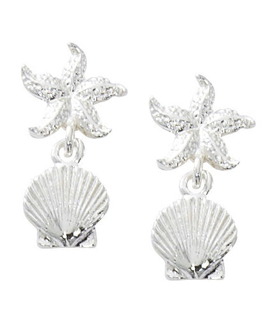 Starfish with Scallop Shell Dangle Earrings E131