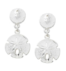 Fashion double sanddollar drop earrings in pewter with sterling silver or gold finish. USA made, wholesale.