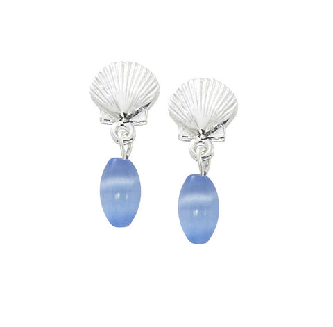 Scallop Shell with Oval Cat's Eye Drop Earrings E148