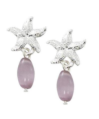Starfish with Oval Cat's Eye Drop Earrings E151