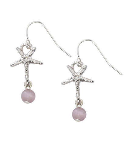 Starfish with Round Cat's Eye Drop Earrings E160