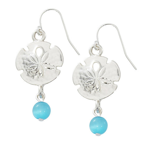 Sand Dollar with Round Cat's Eye Drop Earrings E163