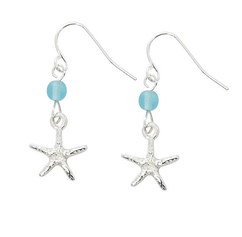 Starfish with Round Cat's Eye Drop Earrings E166