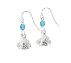 Quahog and round bead drop earrings. Pewter with silver or gold finish. Wholesale, USA made.