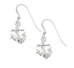 Anchor drop earrings in pewter with silver or gold finish. USA Made, Wholesale