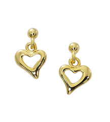 Wholesale fashion open heart drop earrings pewter with sterling silver and 24 karat gold finish USA made.