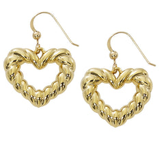 Wholesale fashion open heart earrings pewter with sterling silver or 24 karatgold finish USA made