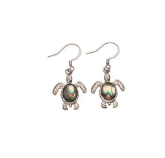 Sea Turtle W/Abalone Stone Drop Earring