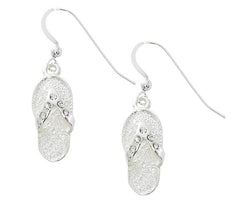 Flip flop drop earrings with Austrian Swarovski crystals. Pewter with sterling silver or gold finish. USA made.