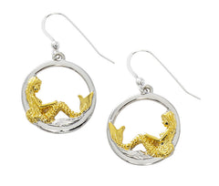Wholesale large mermaid in circle drop earrings. Pewter with two tone gold and silver finish. USA made