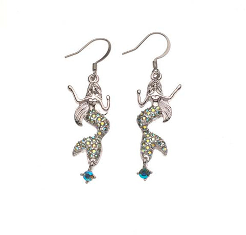 Mermaid W/Swarovski Rhinestones Drop Earrings    MM 915