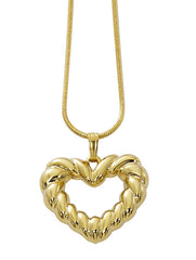 Wholesale fashion open heart necklace pewter with sterling silver or 24 karat gold fnish USA made