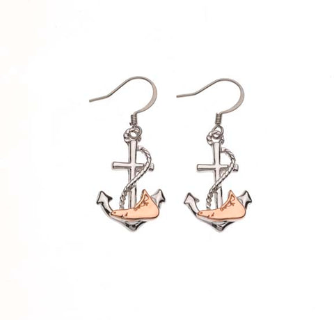 Nantucket Anchor Rose Gold/Silver Two Tone Drop Earring
