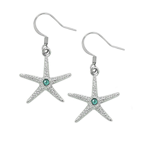 Layered Sterling Starfish Dangle Earrings with Swarovski Crystals SF196S