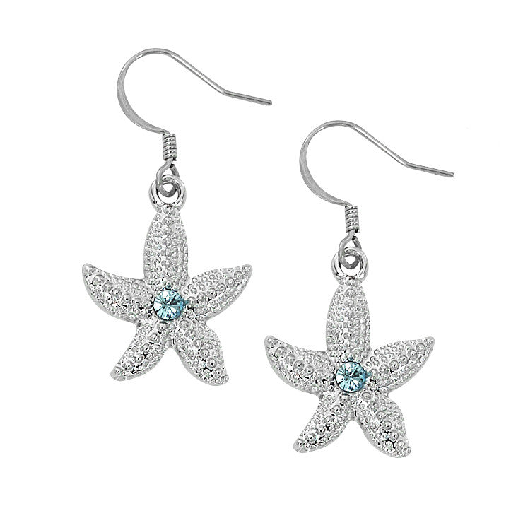 e2d160be8b07f Layered Sterling Starfish Dangle Earrings with Swarovski Crystals ...