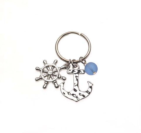 Anchor/Shipwhell W/Sea Glass Beads Key Chains