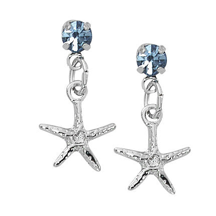 Layered Sterling Starfish Dangle Earrings with Swarovski Crystals SW252