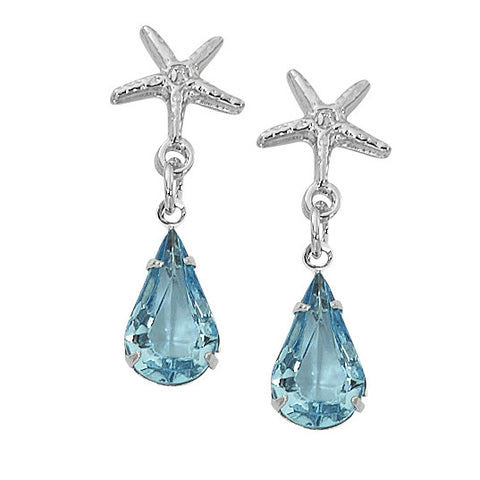 Layered Sterling Starfish Drop Earrings with Swarovski Teardrop
