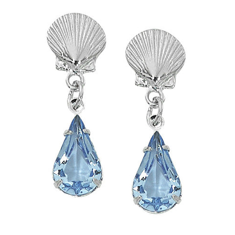 Scallop Shell with Swarovski Crystals Drop Earrings Layered Sterling SW255