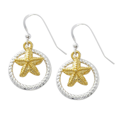 Starfish with Rope Circle Two Tone Drop Earrings TT203