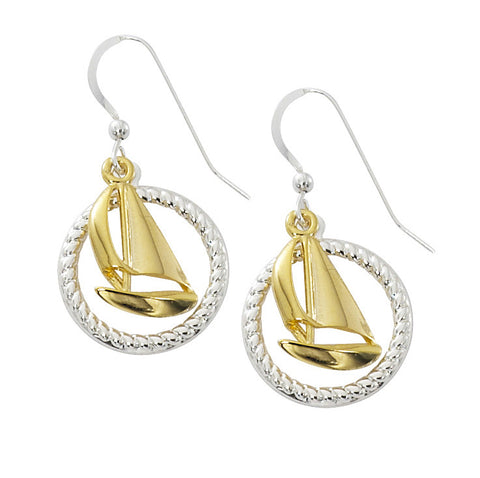 Sailboat with Rope Circle Two Tone Drop Earrings TT204