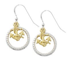 Pewter with two tone gold and silver finish rope and anchor drop earrings. USA made wholesale