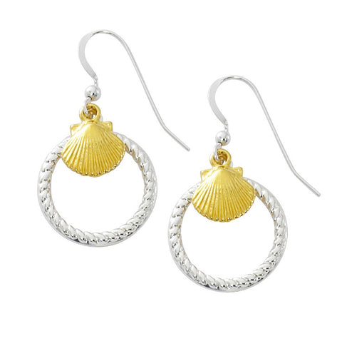 Scallop Shell with Rope Circle Two Tone Drop Earrings TT207