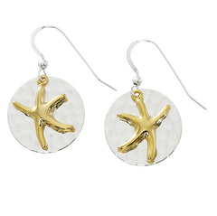 Wholesale two tone dancing starfish drop earrings in pewter with gold and silver finish. USA made