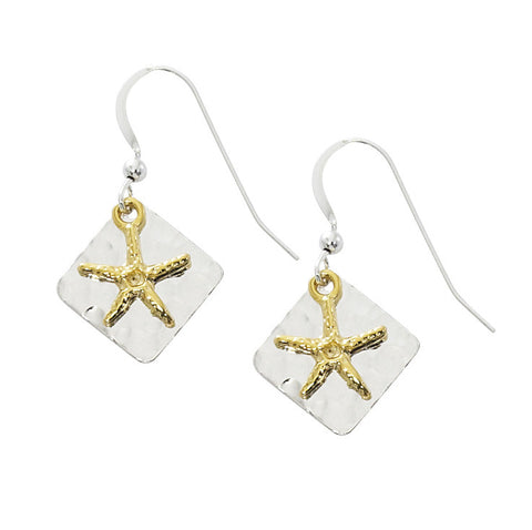 Starfish with Triangle Hammered Two Tone Drop Earrings TT213
