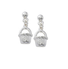 Nantucket Basket drop earrings in pewter with sterling silver or gold finish. USA made wholesale