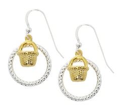 Wholesale fashion nantucket basket earrings two tone pewter with sterling silver and 24 karat gold finish USA made