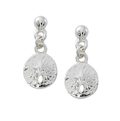 Sand dollar drop earrings in pewter with silver or gold finish. USA made wholesale