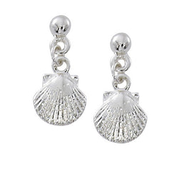 Ball Top Scallop Shell Drop Earrings E115
