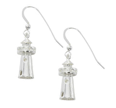 3D Lighthouse Earrings  E 223 Pewter with Sterling Silver or Gold finish. USA Made Wholesale