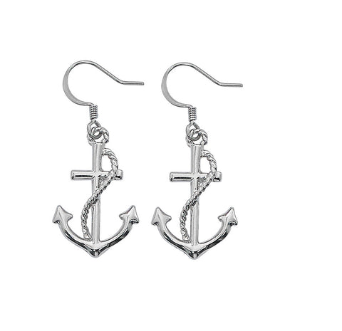 Layered Sterling Anchor Dangle Earrings E226