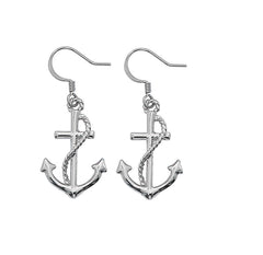 Wholesale fashion Dangle Earrings. Hand crafted and hand polished in the USA. Cast in lead free pewter. Layered sterling silver finish. Medium sized Earrings. USA made