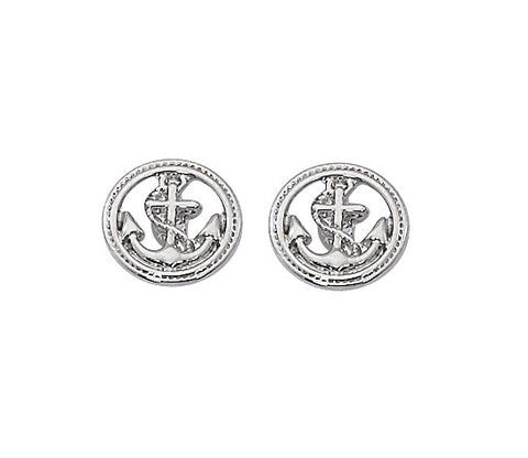 Layered Sterling Anchor in Braided Circle Stud Earrings E628