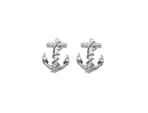 Layered Sterling Anchor Stud Earrings With Swarovski Stones E631