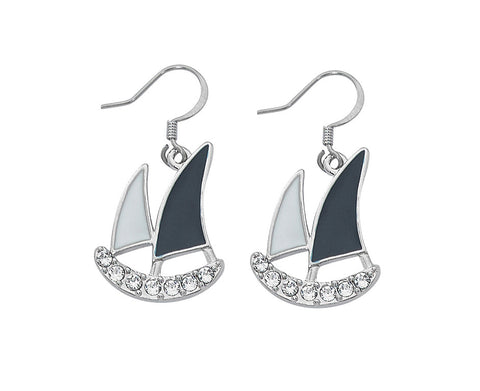 Layered Sterling and Epoxy Sailboat with Swarovski Crystals Dangle Earrings EX941