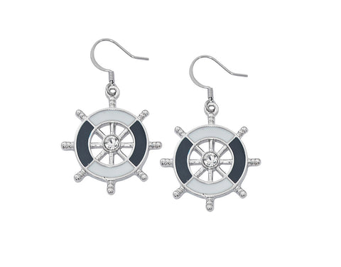 Layered Sterling and Epoxy Ship Wheel with Swarovski Crystals Dangle Earrings EX942