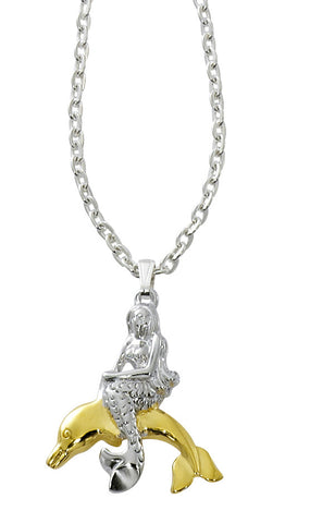 Mermaid on Dolphin Two Tone Necklace MM900
